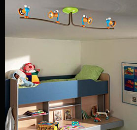 "A Child's Bedroom with ceiling mounted 4 light ""Birdie"" fitting"