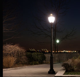 Traditional Path Lighting with a Mercury Discharge Lamp to give crisp clean white light.